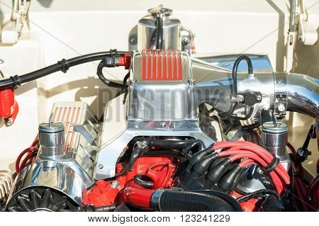 automotive engine bay parts on a high performance vehicle