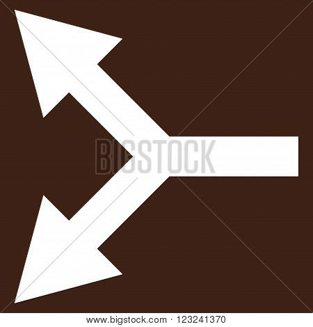 Bifurcation Arrow Left vector icon. Image style is flat bifurcation arrow left pictogram symbol drawn with white color on a brown background.