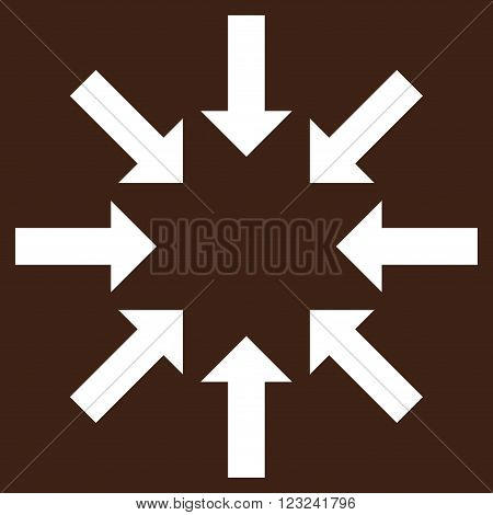 Collapse Arrows vector icon. Image style is flat collapse arrows pictogram symbol drawn with white color on a brown background.