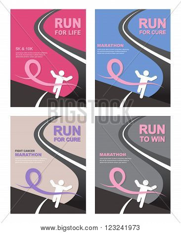 Sport people with Running  Pink Ribbon, Breast Cancer Awareness at the fish line