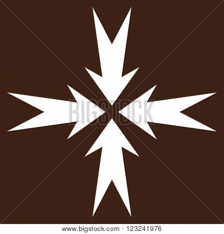 Compression Arrows vector icon. Image style is flat compression arrows pictogram symbol drawn with white color on a brown background.