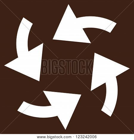 Cyclone Arrows vector icon. Image style is flat cyclone arrows pictogram symbol drawn with white color on a brown background.