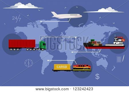 Logistic concept flat illustration set of maritime rail and air transport delivery services abstract . Vector illustration