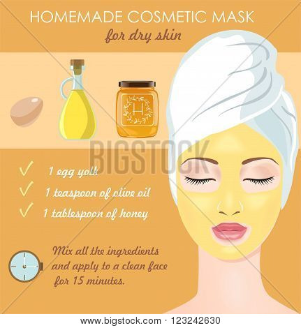 Homemade cosmetic mask for dry face skin. Egg yolk, olive oil and honey make your skin glowing. Vector illustration