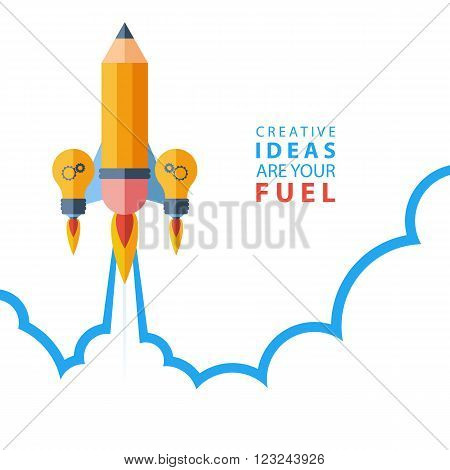 Creative ideas are your fuel. Flat design colorful vector illustration concept for creativity, big idea, creative work, starting new project.