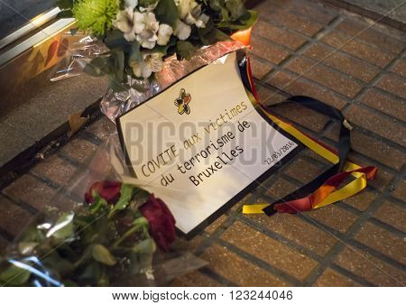 Madrid, Spain - March 22, 2016 - Flowers And Message In Memory Of Victims Of Terrorist Attacks In Br