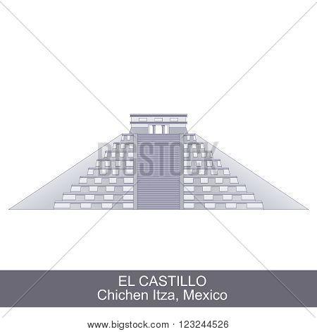 Color Illustration of El Castillo, Kukulkan Pyramid in Chichen Itza, Mexico