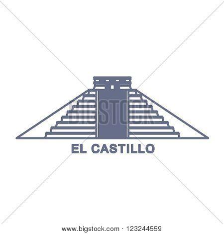 Simple Illustration of El Castillo, Kukulkan Pyramid in Chichen Itza, Mexico