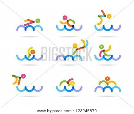 swimming colorfu icons for buisness logo and designs