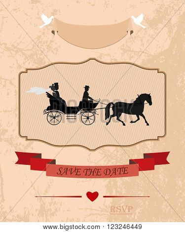 an invitation to the wedding and celebration. the bride and groom drove in crew. vector illustration for designers and publishers. fully editable