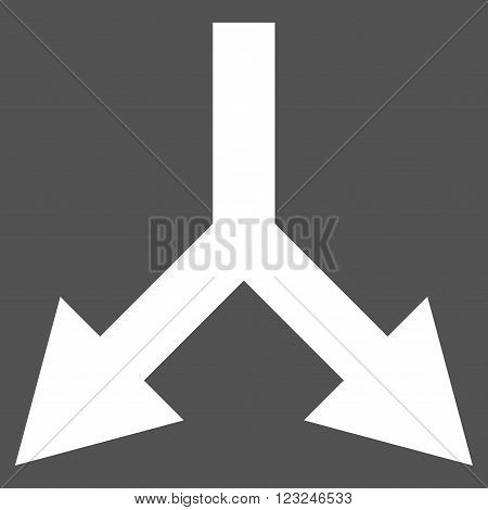 Bifurcation Arrow Down vector icon. Image style is flat bifurcation arrow down pictogram symbol drawn with white color on a gray background.