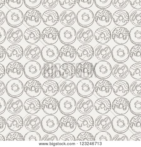 Vector black and white decorated donuts Seamless Pattern.