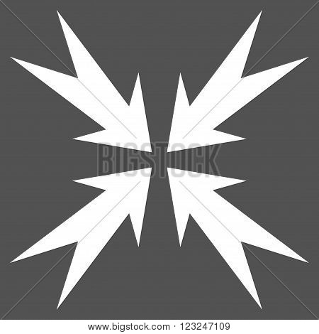 Compression Arrows vector icon. Image style is flat compression arrows pictogram symbol drawn with white color on a gray background.