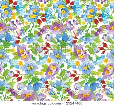 Vector illustration. Seamless flower patern in blue and perple shades