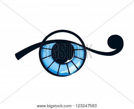 isolated abstract blue eye on white background. vector