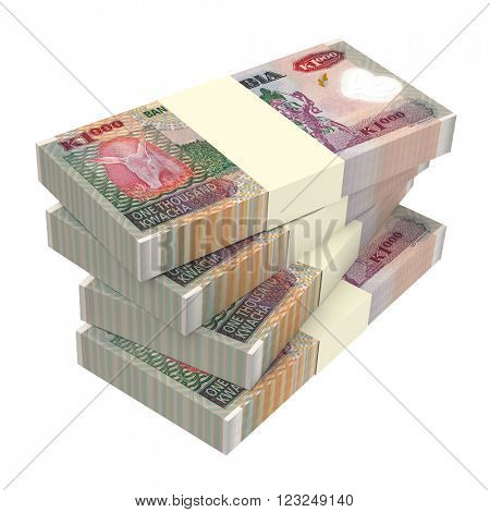 Zambian kwacha bills isolated on white background. Computer generated 3D photo rendering.