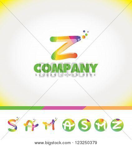 Vector company logo icon element template alphabet colors letter set