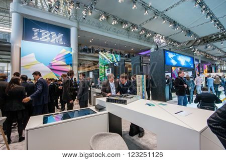 HANNOVER GERMANY - MARCH 15 2016: Booth of IBM company at CeBIT information technology trade show in Hannover Germany on March 15 2016.
