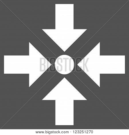 Shrink Arrows vector icon. Image style is flat shrink arrows pictogram symbol drawn with white color on a gray background.