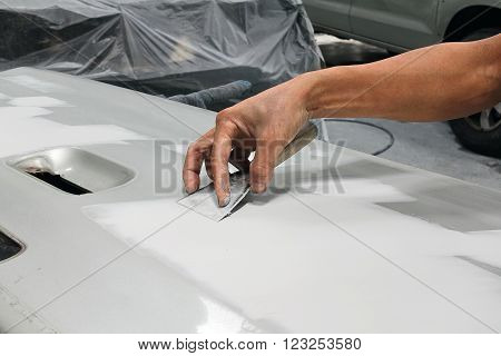 Car body work auto repair paint after the accident.