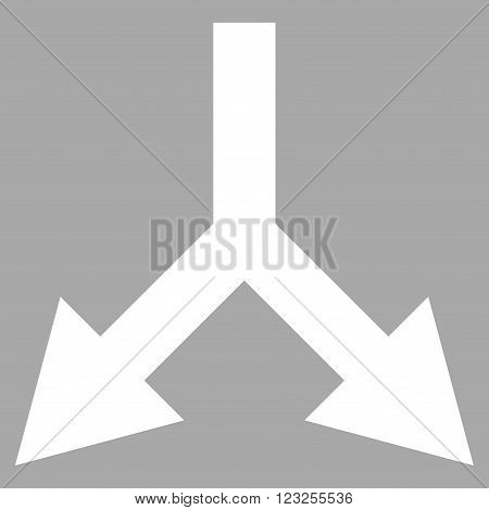 Bifurcation Arrow Down vector icon. Image style is flat bifurcation arrow down pictogram symbol drawn with white color on a silver background.
