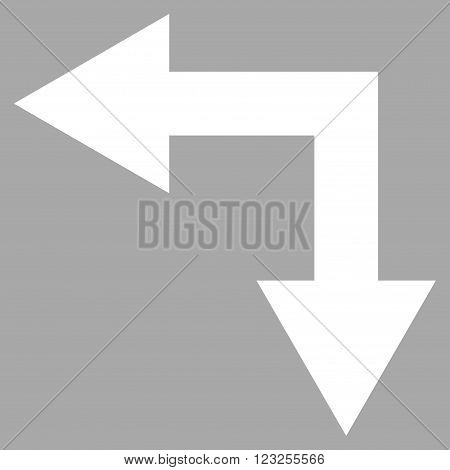 Bifurcation Arrow Left Down vector icon. Image style is flat bifurcation arrow left down pictogram symbol drawn with white color on a silver background.