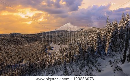 Majestic View of Mt. Hood on a stormy evening during the Winter months.