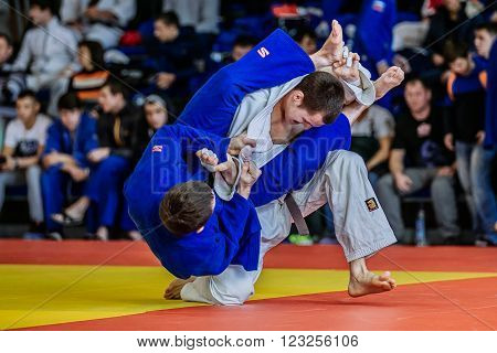Chelyabinsk Russia - March 19 2016: fighters judoists fight in time to compete Russian competition on judo