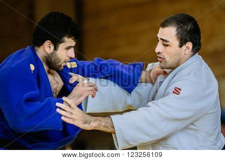 Chelyabinsk Russia - March 19 2016: two fighters judo heavy weight during Russian competition on judo