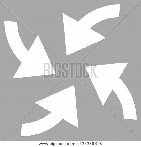 Cyclone Arrows vector icon. Image style is flat cyclone arrows pictogram symbol drawn with white color on a silver background.