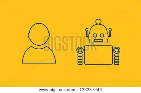 Cute vintage robot and human. Robotics industry relative image. Outline icons