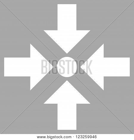 Shrink Arrows vector icon. Image style is flat shrink arrows pictogram symbol drawn with white color on a silver background.