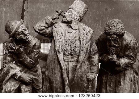 BAKU, AZERBAIJAN - MARCH 04 2014  Characters by Omar Eldarov. Detail from a sculpture by Azerbaijani artist Omar Eldarov, in the Inner City of Baku.