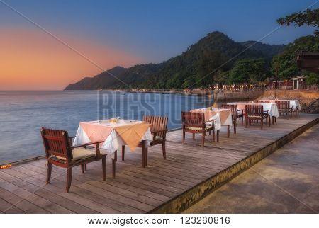 Thailand, Ko Chang - DEC 11: Hotel Chang Buri Resort dinner on the beach on December 11, 2011 in  Ko Chang, Thailand