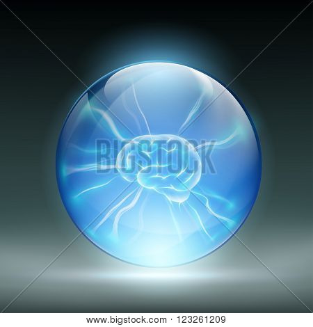 Human brain in a glass ball. Stock vector illustration.