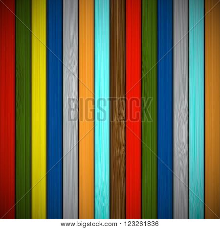 Wooden background of multicolored boards. Stock vector illustration.
