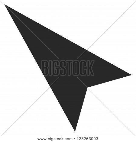 Arrowhead Left-Up vector icon. Arrowhead Left-Up icon symbol. Arrowhead Left-Up icon image. Arrowhead Left-Up icon picture. Arrowhead Left-Up pictogram. Flat gray arrowhead left-up icon.