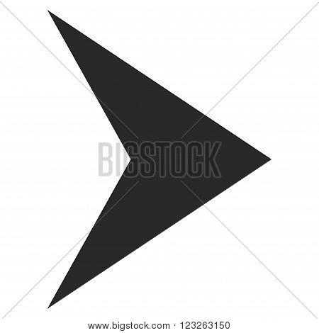 Arrowhead Right vector icon. Arrowhead Right icon symbol. Arrowhead Right icon image. Arrowhead Right icon picture. Arrowhead Right pictogram. Flat gray arrowhead right icon.