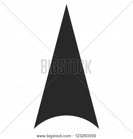 Arrowhead Up vector icon. Arrowhead Up icon symbol. Arrowhead Up icon image. Arrowhead Up icon picture. Arrowhead Up pictogram. Flat gray arrowhead up icon. Isolated arrowhead up icon graphic.