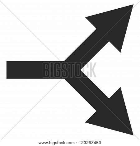 Bifurcation Arrow Right vector icon. Bifurcation Arrow Right icon symbol. Bifurcation Arrow Right icon image. Bifurcation Arrow Right icon picture. Bifurcation Arrow Right pictogram.