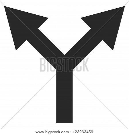 Bifurcation Arrow Up vector icon. Bifurcation Arrow Up icon symbol. Bifurcation Arrow Up icon image. Bifurcation Arrow Up icon picture. Bifurcation Arrow Up pictogram.