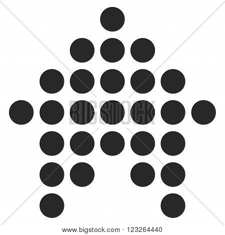 Dotted Arrow Up vector icon. Dotted Arrow Up icon symbol. Dotted Arrow Up icon image. Dotted Arrow Up icon picture. Dotted Arrow Up pictogram. Flat gray dotted arrow up icon.