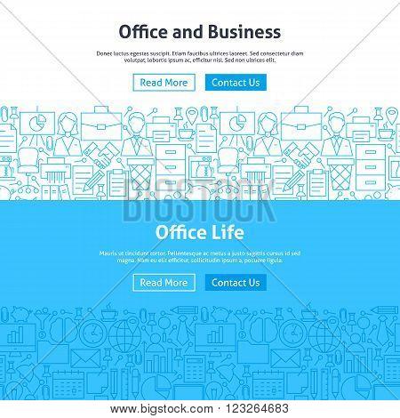 Business Office Life Line Art Web Banners Set
