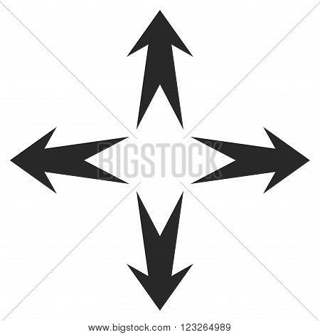 Expand Arrows vector icon. Expand Arrows icon symbol. Expand Arrows icon image. Expand Arrows icon picture. Expand Arrows pictogram. Flat gray expand arrows icon. Isolated expand arrows icon graphic.