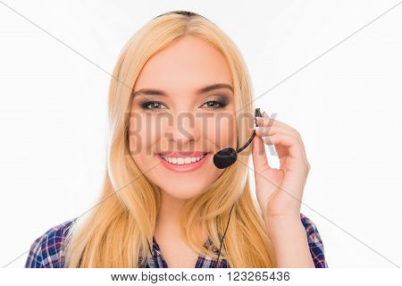 Portrait Of Happy Young Smiling Agent Of Call Center