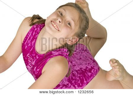 model release #282 10 year old caucasian girl in gymnastics poses poster
