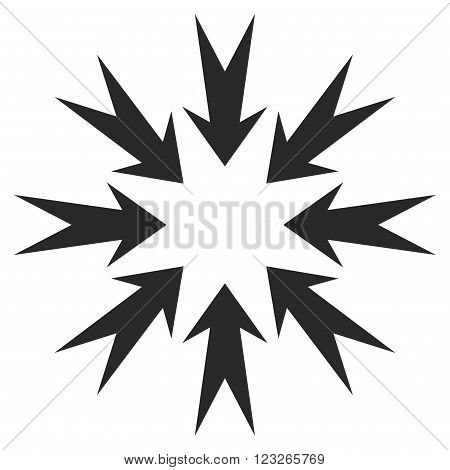 Pressure Arrows vector icon. Pressure Arrows icon symbol. Pressure Arrows icon image. Pressure Arrows icon picture. Pressure Arrows pictogram. Flat gray pressure arrows icon.