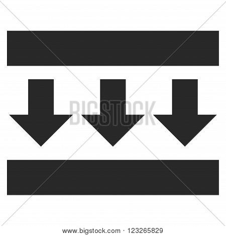 Pressure Down vector icon. Pressure Down icon symbol. Pressure Down icon image. Pressure Down icon picture. Pressure Down pictogram. Flat gray pressure down icon. Isolated pressure down icon graphic.
