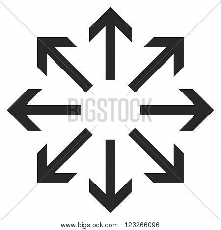 Radial Arrows vector icon. Radial Arrows icon symbol. Radial Arrows icon image. Radial Arrows icon picture. Radial Arrows pictogram. Flat gray radial arrows icon. Isolated radial arrows icon graphic.
