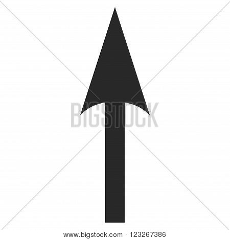 Sharp Arrow Up vector icon. Sharp Arrow Up icon symbol. Sharp Arrow Up icon image. Sharp Arrow Up icon picture. Sharp Arrow Up pictogram. Flat gray sharp arrow up icon.
